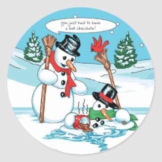 Funny Snowman with Hot Chocolate Cartoon Classic Round Sticker