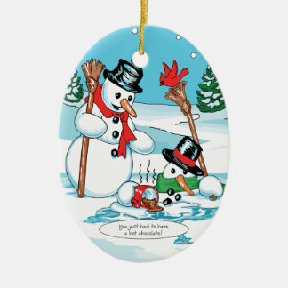 Funny Snowman with Hot Chocolate Cartoon Double-Sided Oval Ceramic Christmas Ornament