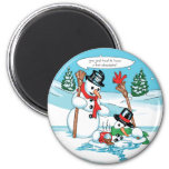 Funny Snowman with Hot Chocolate Cartoon Refrigerator Magnet