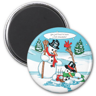 Funny Snowman with Hot Chocolate Cartoon Magnet