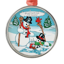 Funny Snowman with Hot Chocolate Cartoon Metal Ornament