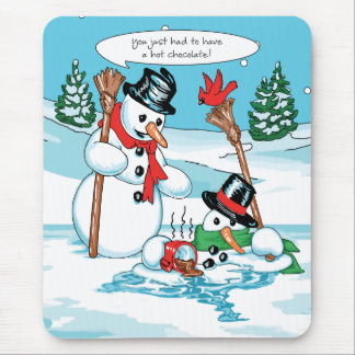 Funny Snowman with Hot Chocolate Cartoon Mouse Pad