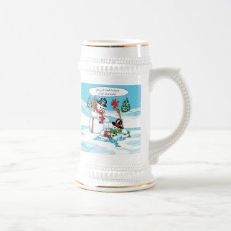 Funny Snowman with Hot Chocolate Cartoon 18 Oz Beer Stein