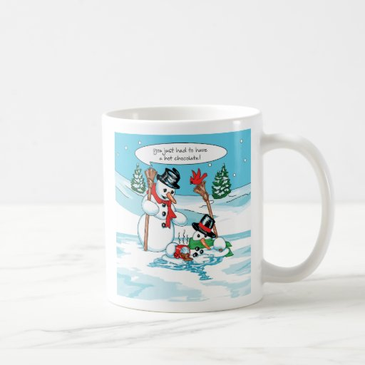 Funny Snowman with Hot Chocolate Cartoon Classic White Coffee Mug