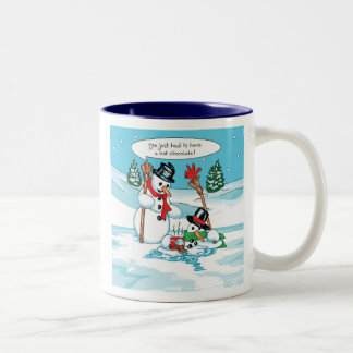Funny Snowman with Hot Chocolate Cartoon Mugs