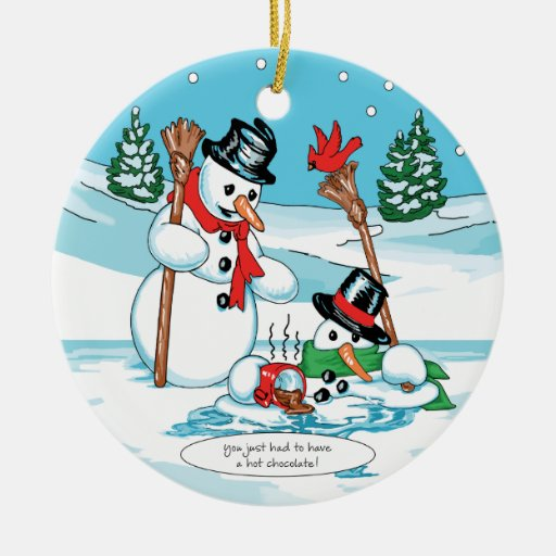 Funny Snowman with Hot Chocolate Cartoon Ornaments