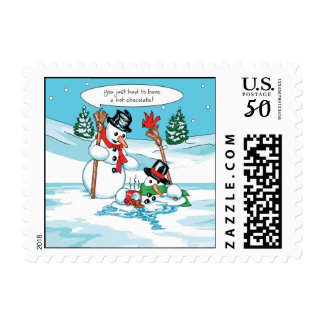 Funny Snowman with Hot Chocolate Cartoon Postage