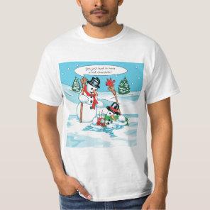 Funny Snowman with Hot Chocolate Cartoon T-Shirt