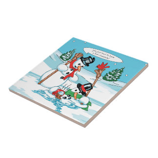 Funny Snowman with Hot Chocolate Cartoon Tile