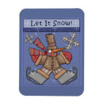 Funny Snowman with skates Rectangular Magnet