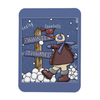 Funny Snowman with snowballs Rectangular Photo Magnet