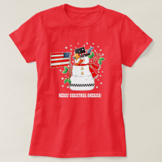 Funny Snowman with US flag Christmas T-Shirts