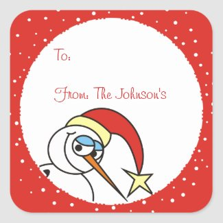 Funny Snowman Xmas Gift Tag Stickers