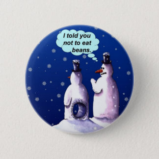 Funny Snowmen Cartoon Button