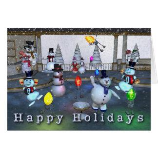 Funny Snowmen/Christmas Light Happy Holidays Card