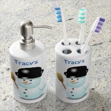 Funny Snowmen Soap Dispenser & Toothbrush Holder