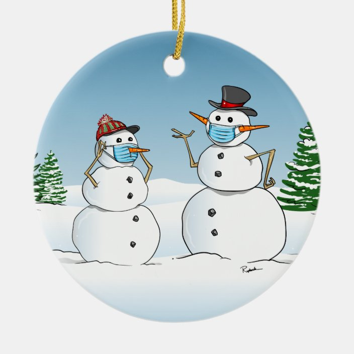 pandemic personalized snowman for kids 2020 funny Christmas ornament 2020 custom funny mask snowman kids Christmas ornament