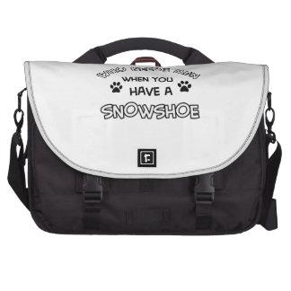 Funny snowshoe designs laptop bag