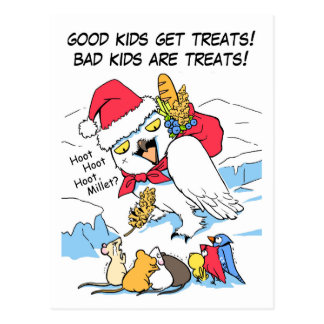 Funny snowy owl santa meme post cards