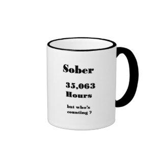 funny Sober anniversary mug. Ringer Coffee Mug