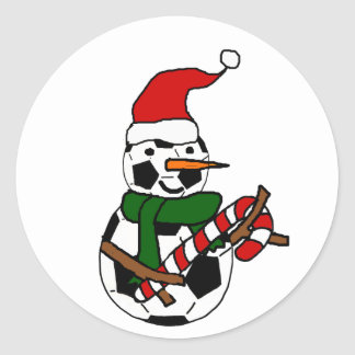 Funny Soccer Ball Snowman Christmas Cartoon Classic Round Sticker
