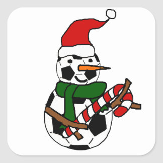 Funny Soccer Ball Snowman Christmas Cartoon Square Sticker