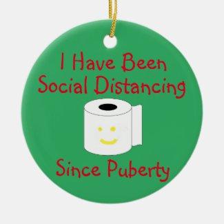 Funny Social Distancing Ceramic Ornament