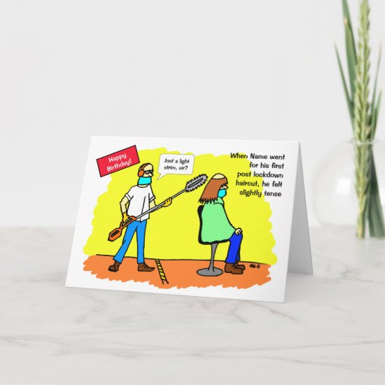 Funny Social Distancing Haircut Birthday Card