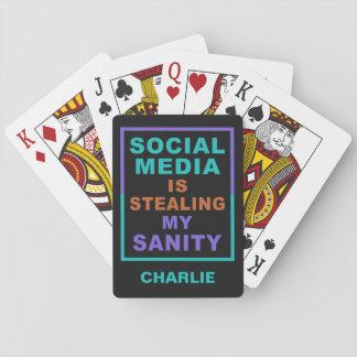 "Funny ""Social Media"" custom name playing cards"