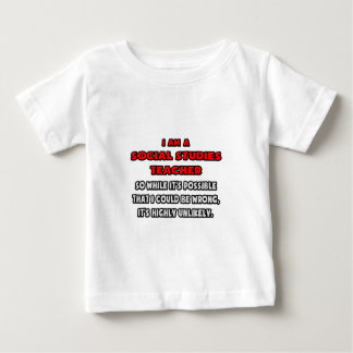 Funny Social Studies Teacher .. Highly Unlikely Baby T-Shirt
