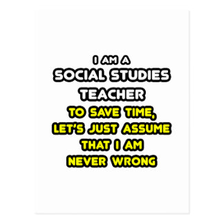 Funny Social Studies Teacher T-Shirts and Gifts Postcard