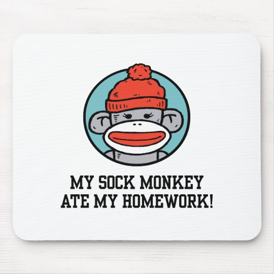 Funny Sock Monkey Mouse Pad