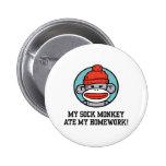 Funny Sock Monkey Pinback Button
