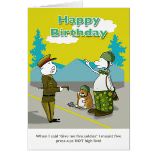 Funny soldier Happy Birthday card