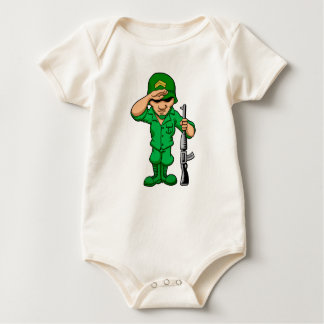 Funny soldier with rifle baby bodysuit