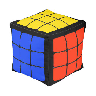 Funny Solved Color Cube 80's Games Eighties Decor Pouf