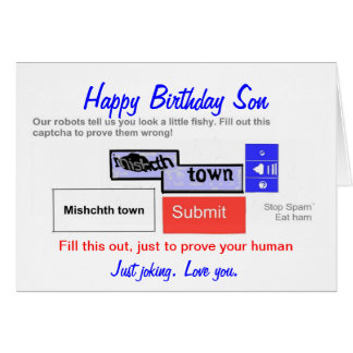 Funny Sons Birthday card. Are you a robot? Card