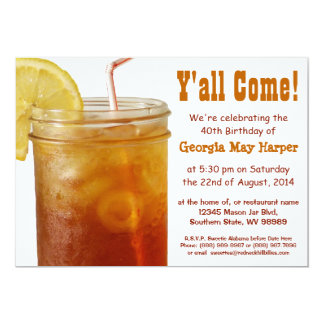 Funny Southern Sweet Tea Birthday Party 5x7 Paper Invitation Card