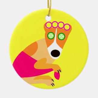 Funny Spa Dog in Curlers Ceramic Ornament