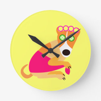 Funny Spa Dog in Curlers Round Wall Clock