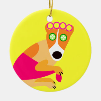 Funny Spa Dog in Curlers Christmas Tree Ornament