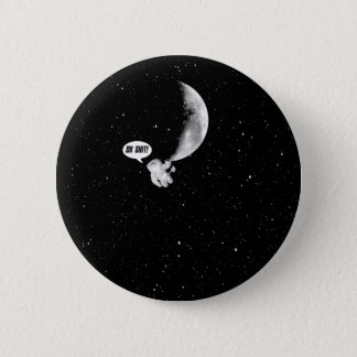 Funny Spaceman and The Moon Pinback Button
