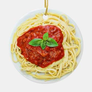 Funny Spaghetti Gag Gift Food Christmas Ceramic Ornament