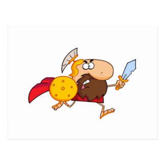 Funny Spartan Gladiator Running Postcard
