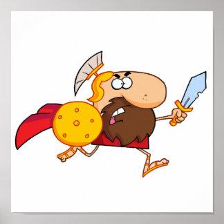 Funny Spartan Gladiator Running Poster