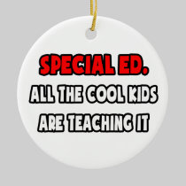 Funny Special Ed. Teacher Shirts and Gifts Double-Sided Ceramic Round Christmas Ornament