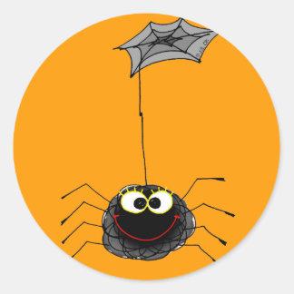 Funny spider classic round sticker