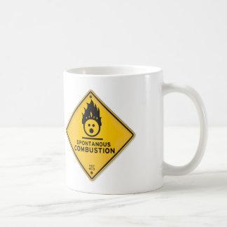 Funny Spontaneous Combustion Warning Sign Coffee Mug