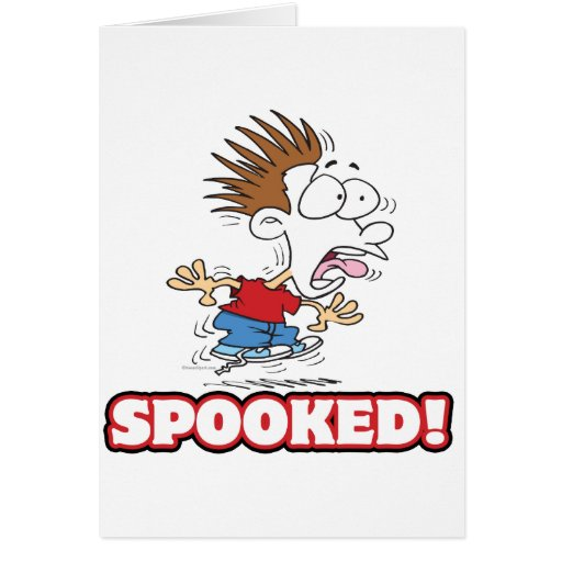 funny SPOOKED cartoon Greeting Card