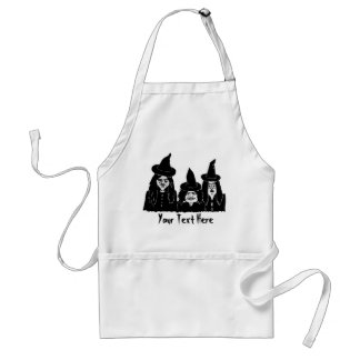 funny spooky black witches scary halloween fun adult apron